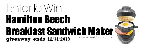 enter to win Hamilton Beech Breakfast Sandwich Maker from KatiesCucian.com
