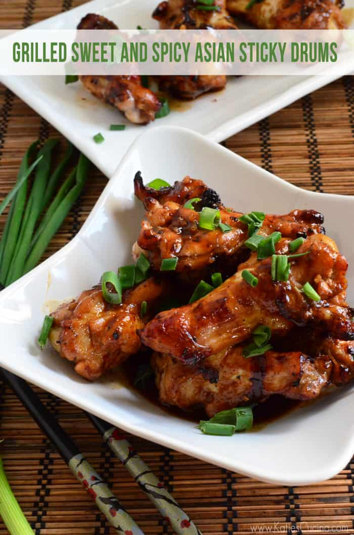 Grilled Sweet and Spicy Asian Sticky Drums from Katie's Cucina