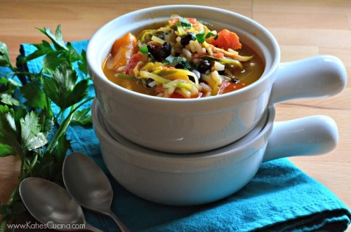 Southwestern  Chicken and Rice Soup using leftover stuffed peppers!