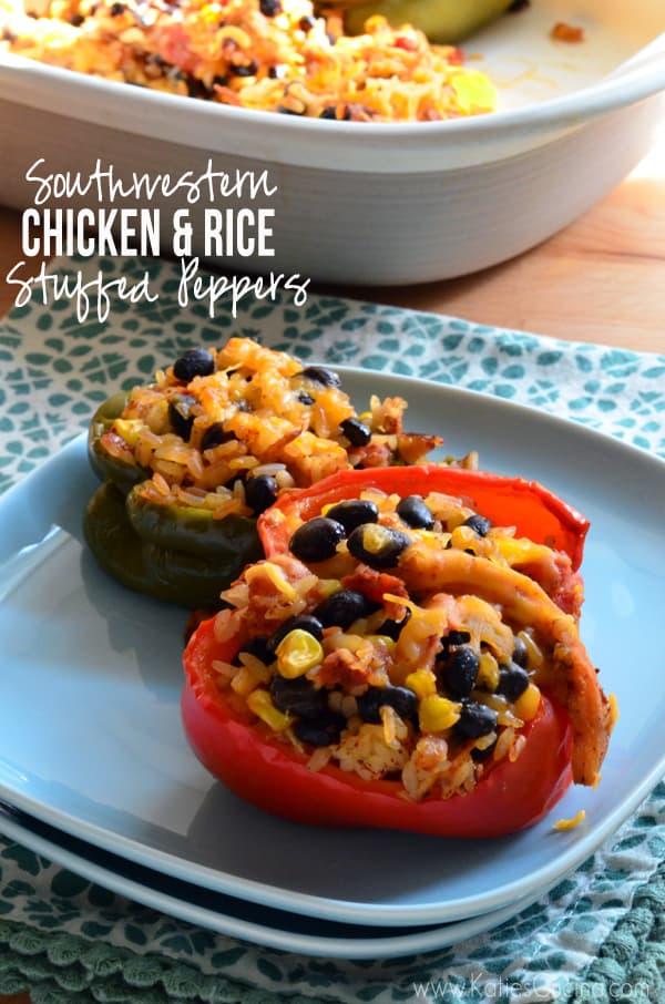 Southwestern Chicken & Rice Stuffed Peppers
