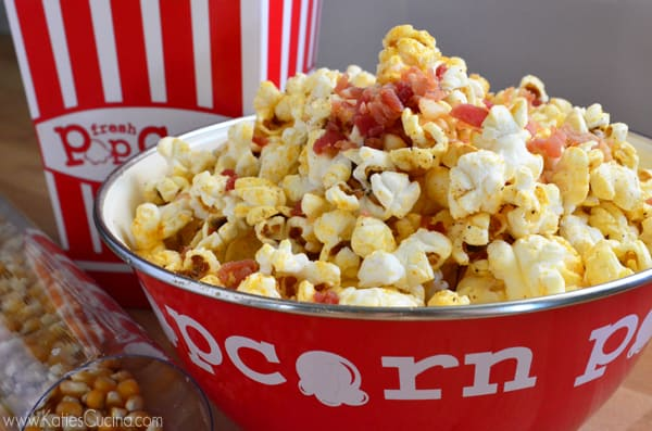 Movie night popcorn with a twist -- 5 ingredient Bacon Popcorn from KatiesCucina.com