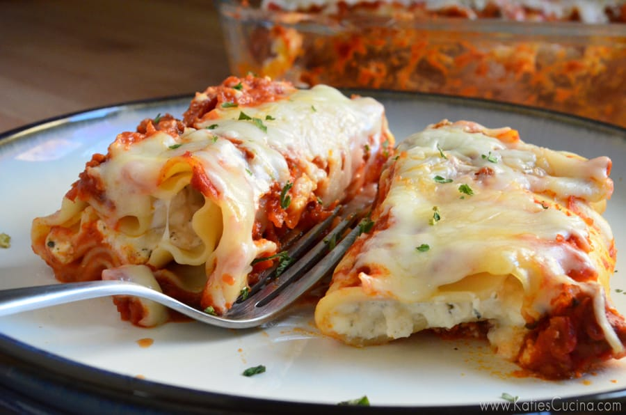 Easy Lasagna Bolognese Roll-Ups made in less than an hour from KatiesCucina.com
