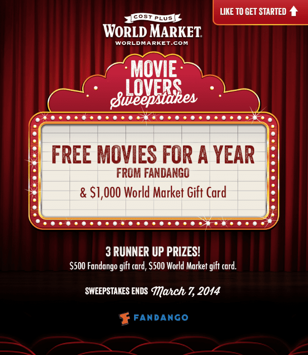 Movie Lovers Sweepstakes from Cost Plus World Market -- Enter today!