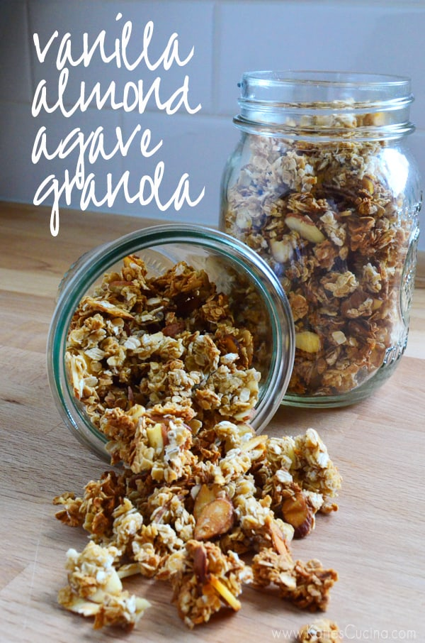 4 Ingredient Vanilla Almond Agave Granola from KatiesCucina.com