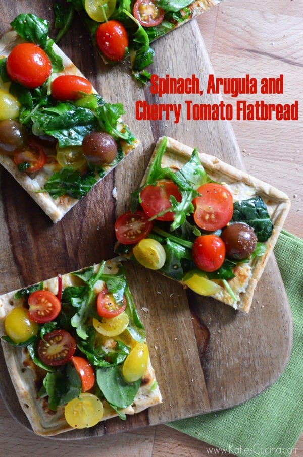 Spinach Arugula and Cherry Tomato Flatbread