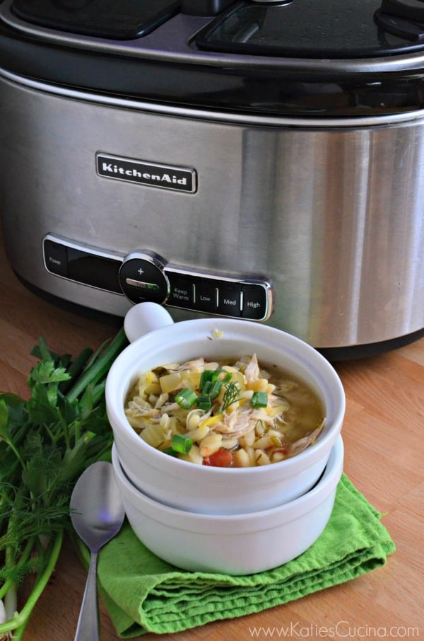 lemon chicken orzo soup in the slow cooker