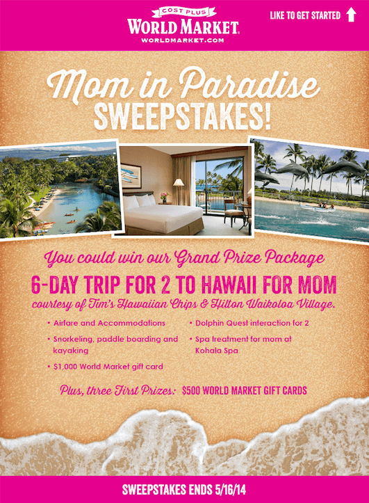 Mom In Paradise Sweepestakes