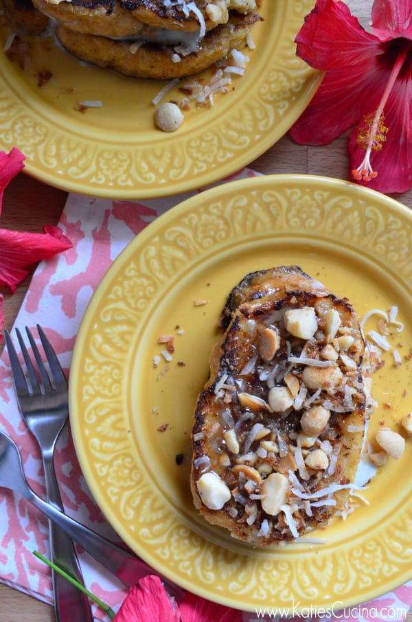 Pineapple Stuffed French Toast with Coconut Syrup