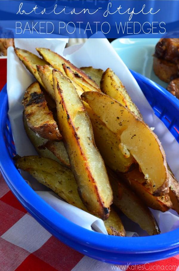 Use up leftover baked potatoes and make these Italian-Style Baked Potato Wedges