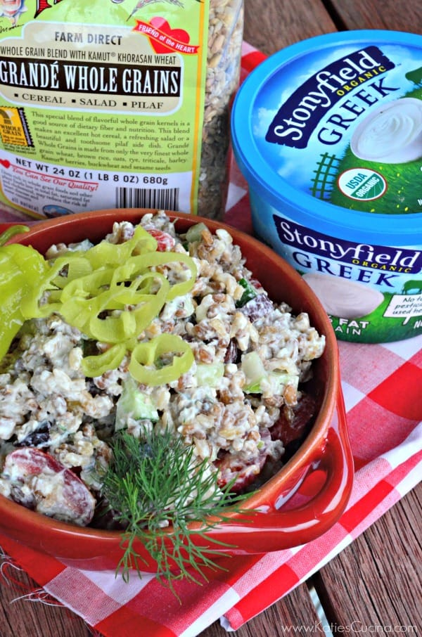 Creamy Greek Pilaf Salad using @stonyfield and @bobsredmill #cleanplateclub #stonyfieldblogger