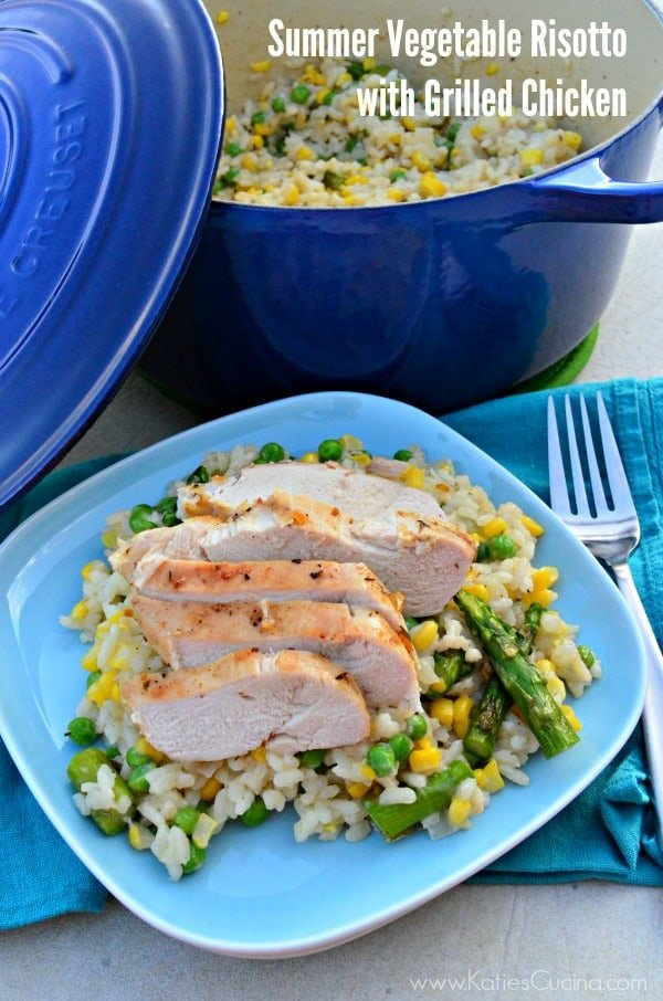Summer Vegetable Risotto with Grilled Chicken #PassItOnPotluck