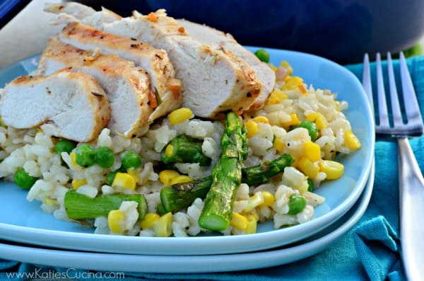 Summer Vegetable Risotto with Grilled Chicken