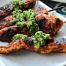 Grilled Chili Chicken Skewers with Cilantro Lime Pesto