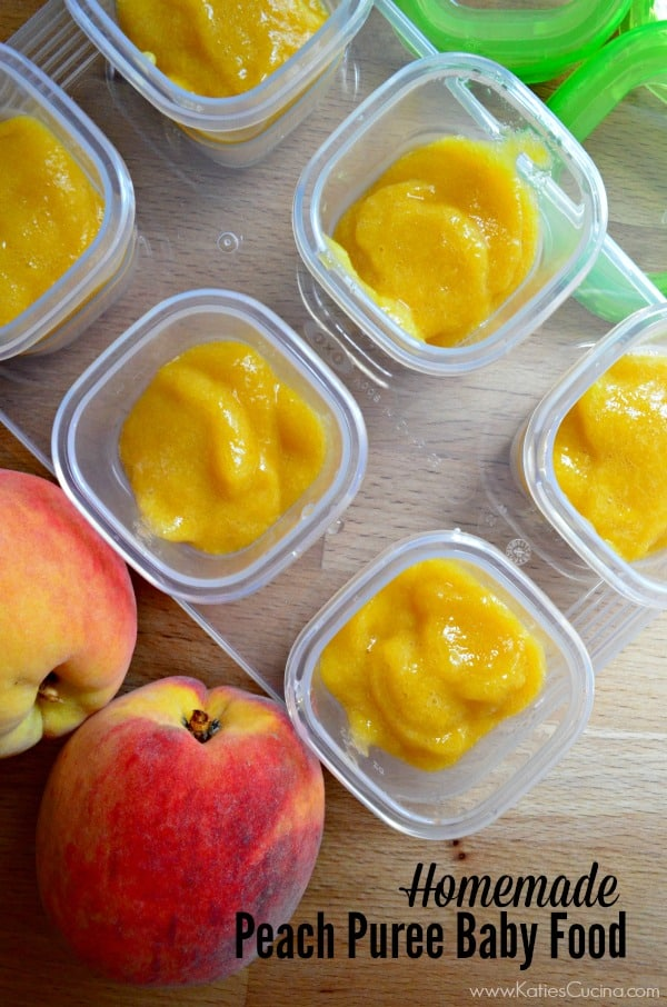 Homemade Peach Puree Baby Food #FirstBites @OXOTot
