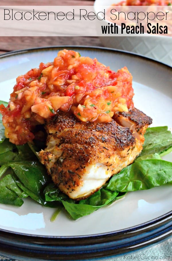 White plate with a piece of seasoned white fish on a bed of spinach topped with salsa.