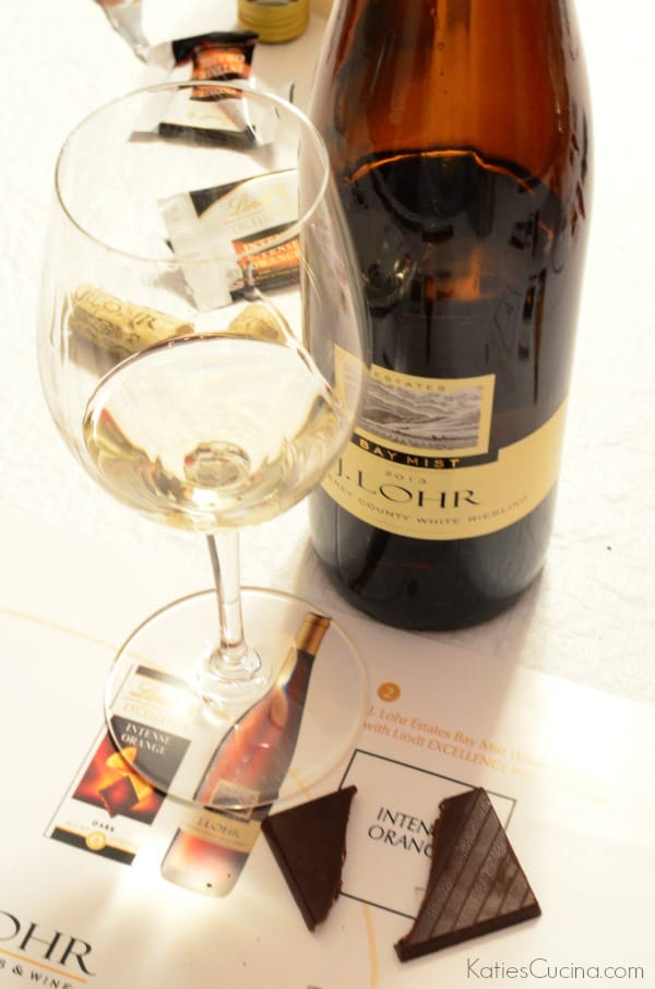 Lindt EXCELLENCE Intense Orange paired with J. Lohr Estates Bay Mist White Riesling