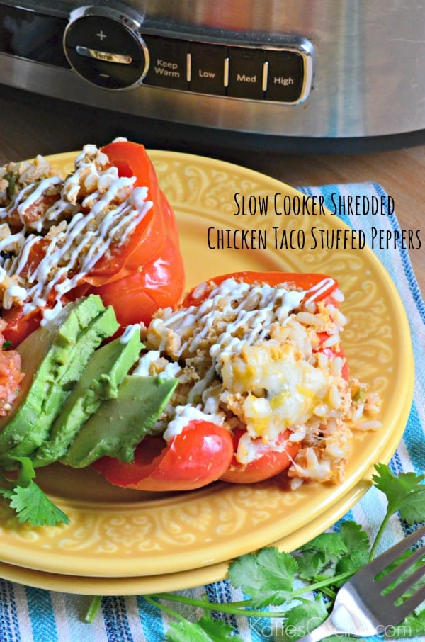 Slow Cooker Shredded Chicken Taco Stuffed Peppers 2