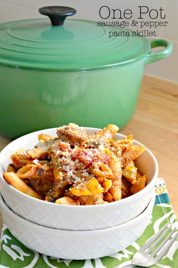 One Pot Sausage & Peppers Pasta Skillet