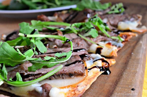 Steak, Pear, and Gorgonzola Flatbread