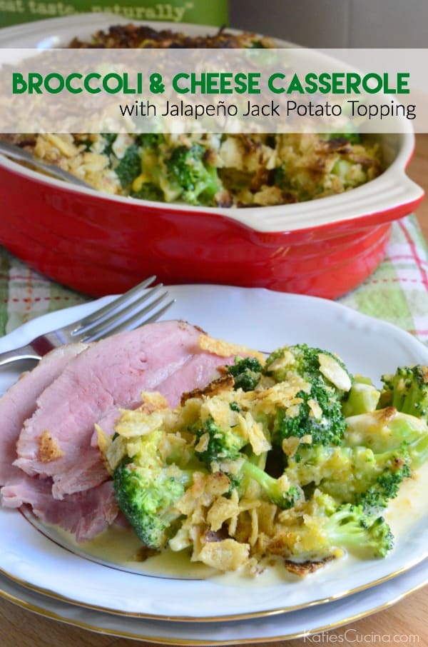 Broccoli and Cheese Casserole with Jalapeño Jack Potato Topping