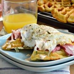 Egg and Ham Savory Waffle Stacks