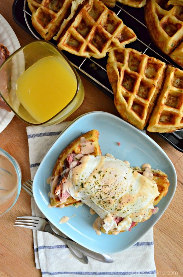 Egg and Ham Savory Waffle Stacks