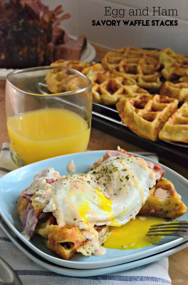 Easy to make recipe -->> Egg and Ham Savory Waffle Stacks