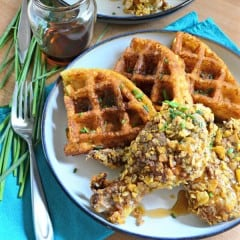 Potato & Chive Buttermilk Waffles with Spicy Sage Oven Fried Chicken