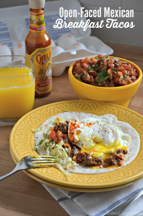 Open-Faced Mexican Breakfast Tacos
