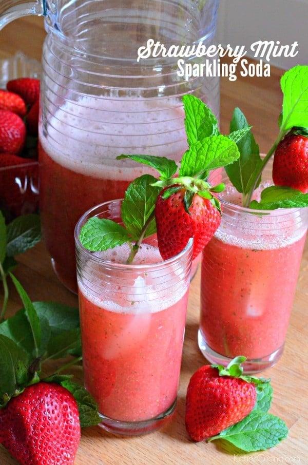 Strawberry Mint Sparkling Soda