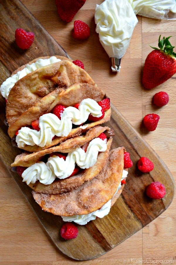 Strawberry Raspberry Nutella Dessert Tacos