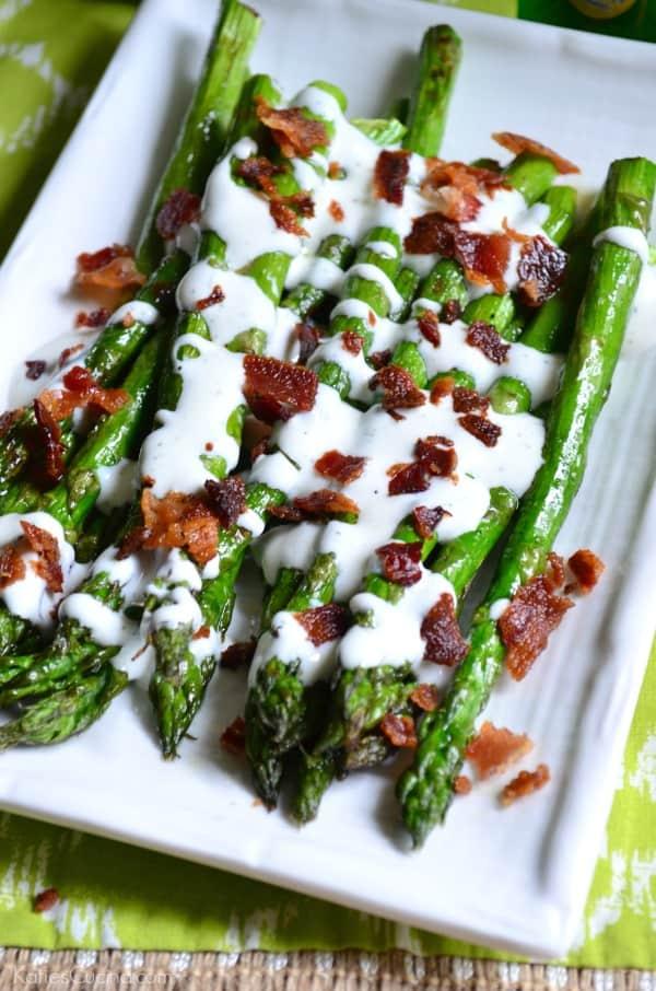 Grilled Asparagus with Bacon Ranch Greek Yogurt Dressing 2