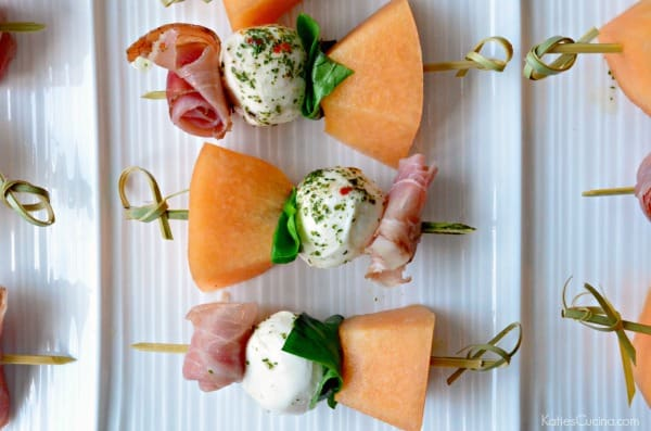 Prosciutto Mellon and Mozzarella Skewers