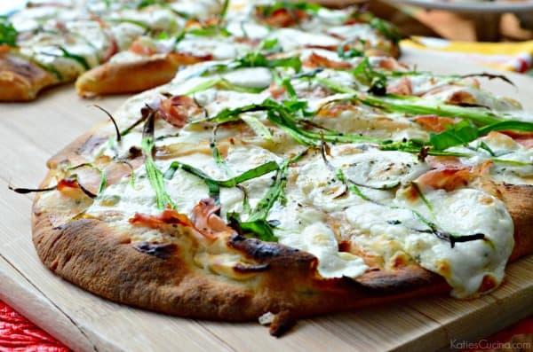 Prosciutto Mozzarella and Asparagus Naan Flatbreads