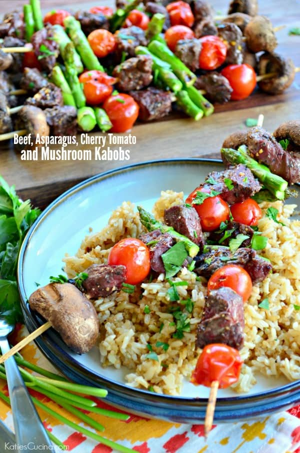 Beef, Asparagus, Cherry Tomato, and Mushroom Kabobs