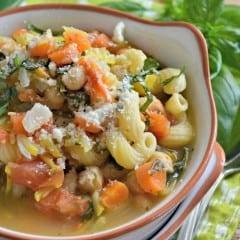 Corkscrew Veggie Chickpea Soup