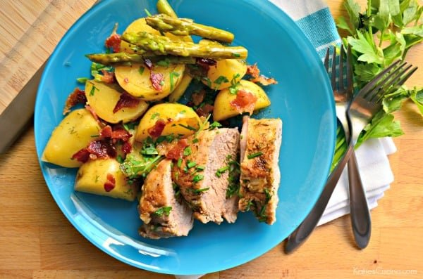 One Pot Spiced Pork Tenderloin with Roasted Potatoes and Asparagus