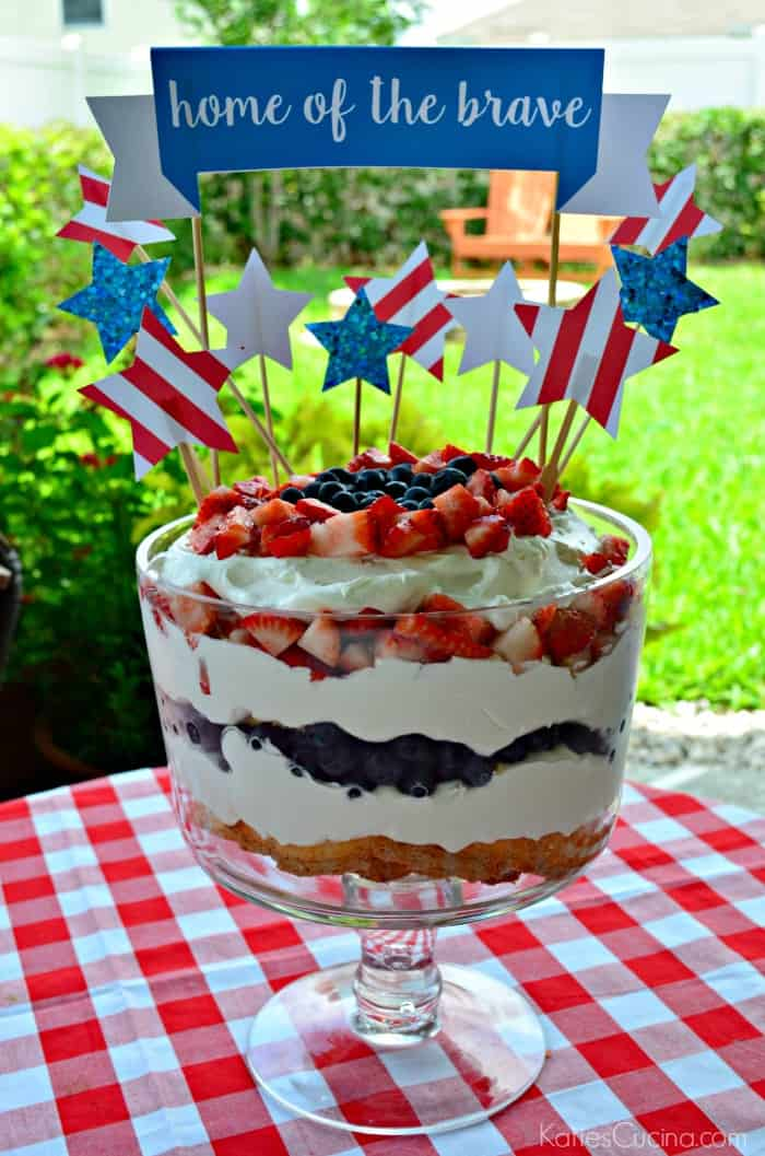 Red, White, and Blue Berry Trifle Cake
