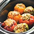 Slow Cooker Beef, Brown Rice, Quinoa and Veggie Stuffed Peppers #LaurasLeanBeef #SmarterBeef #Sponsored