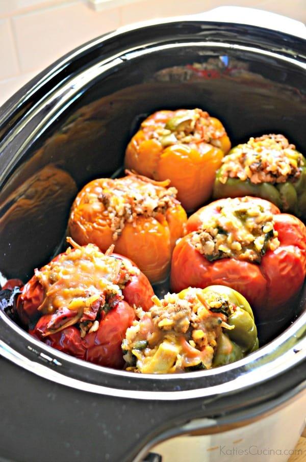 Slow Cooker Beef, Brown Rice, Quinoa and Veggie Stuffed Peppers #LaurasLeanBeef #SmarterBeef #Sponsored