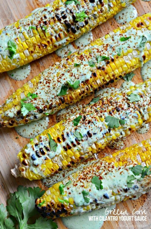 Grilled Corn with Cilantro Yogurt Sauce