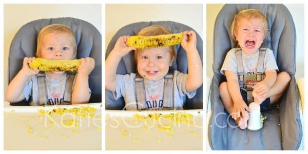 Grilled Corn with Cilantro Yogurt Sauce with a side of toddler!