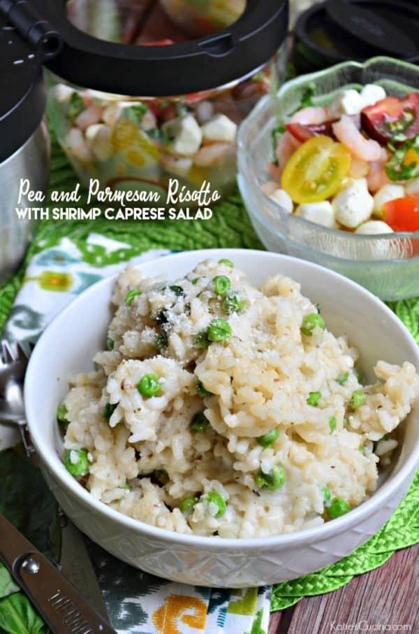 Pea and Parmesan Risotto with Shrimp Caprese Salad #SadDeskLunch