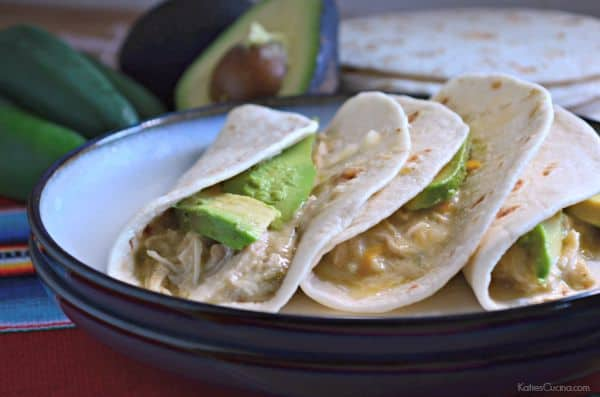 Slow Cooker Creamy Green Chile Shredded Chicken Tacos