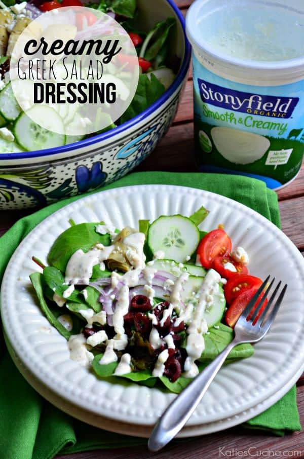 Creamy Greek Salad Dressing #StonyfieldBlogger