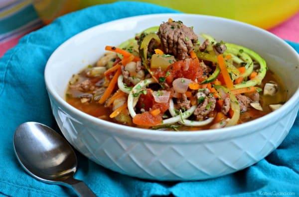 Beef Zoodle soup recipe #LaurasLeanBeef #SmarterBeef #Sponsored
