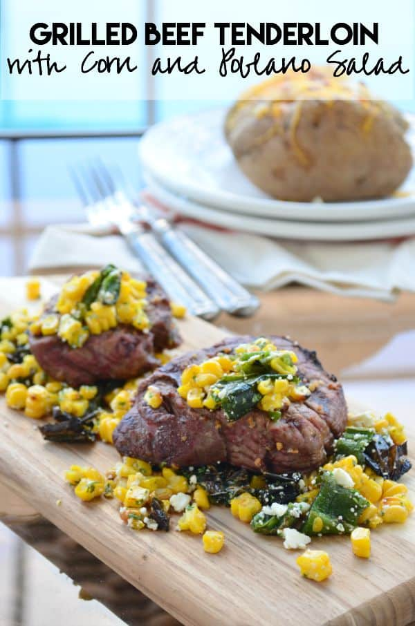 Grilled Beef Tenderloin with Corn and Poblano Salad