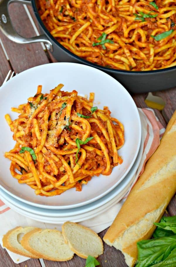 One Pot Pasta with Pork Ragù Sauce Recipe #GourmetGetaway