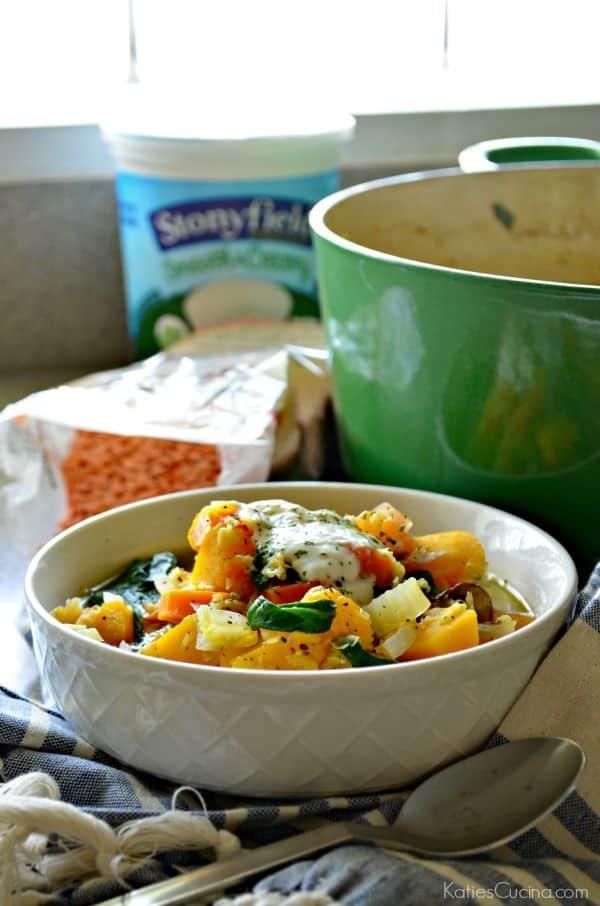 Vegetable Red Lentil Soup w/ Yogurt Sauce