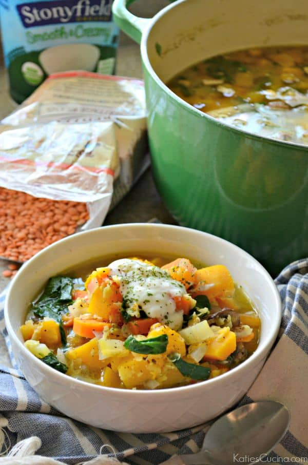 Red Lentil And Vegetable Soup With Chive Yogurt Recipes — Dishmaps